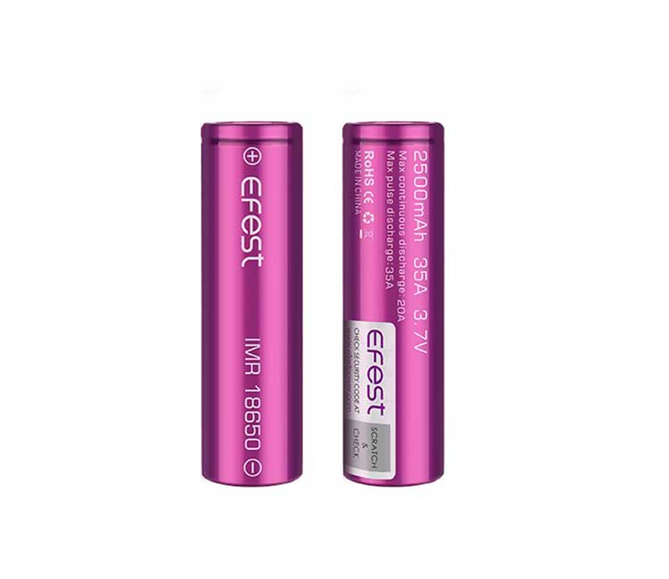Efest IMR 18650 2500mAh 35A flat top battery