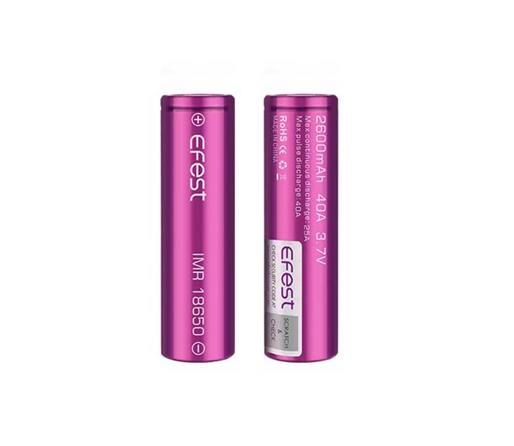 Efest IMR18650 2600mah 40A flat top battery