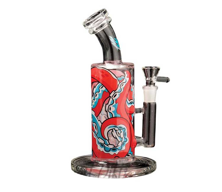 Red Eye Glass 10 Inch Tentacle Bubbler