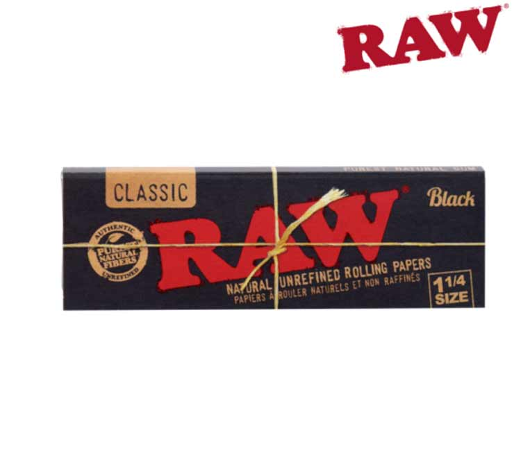 RAW Black Classic 1¼ - Natural Unrefined Rolling Papers