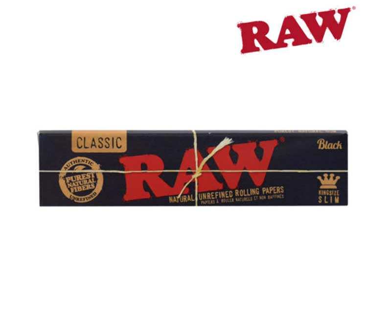 Raw Black Classic King Size Slim - Natural Unrefined Rolling Papers
