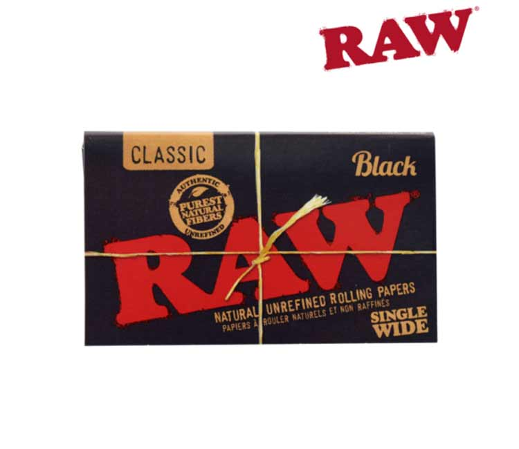 Raw Black Classic Single Wide Double Window - Natural Unrefined Rolling Paper