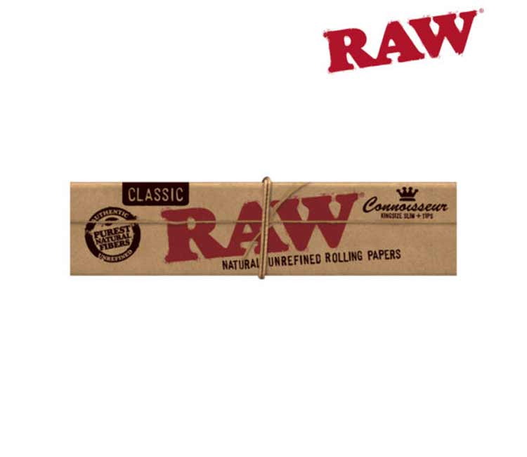 Raw Classic Connoisseur King Size Rolling Papers With Tips