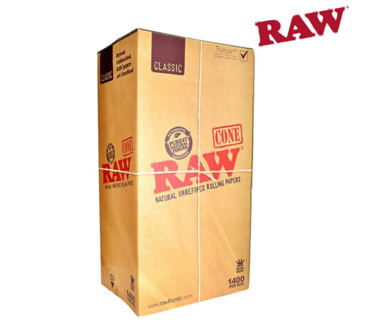 Raw King Size Pre-Rolled Cone With Tip – 1400 Bulk Pack