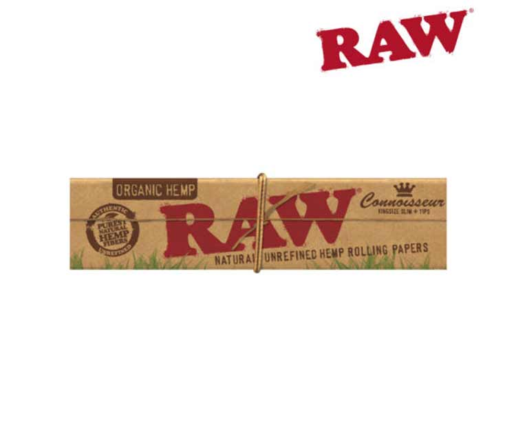 Raw Organic Hemp King SizeSlim Connoisseur Rolling Paper WithTips