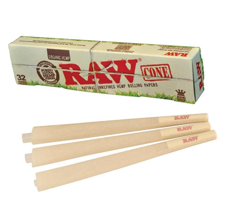 Raw Organic Pre-Rolled Cone King Size – Pack of 32